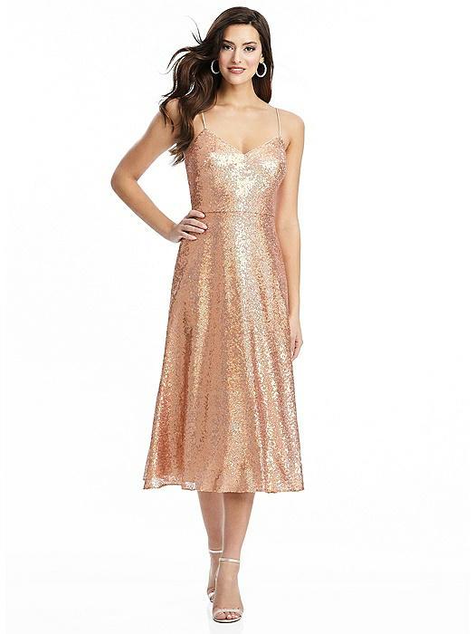 Spaghetti Strap Flared Skirt Sequin Midi Dress