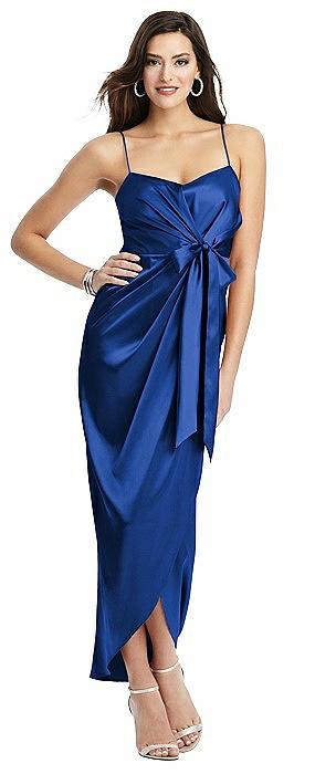 Faux Wrap Midi Dress with Draped Tulip Skirt