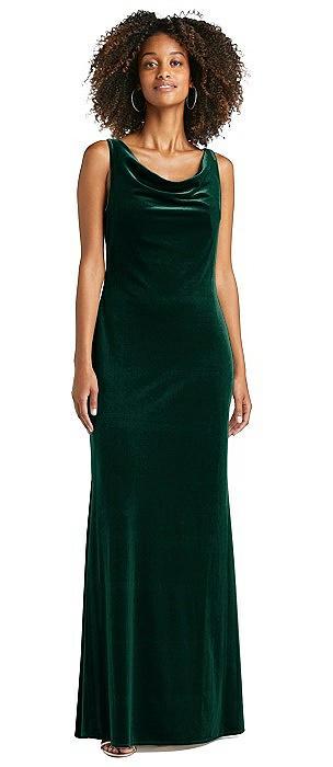 Cowl-Neck Velvet Maxi Tank Dress - Priya