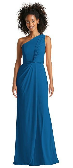 One-Shoulder Draped Chiffon Trumpet Gown