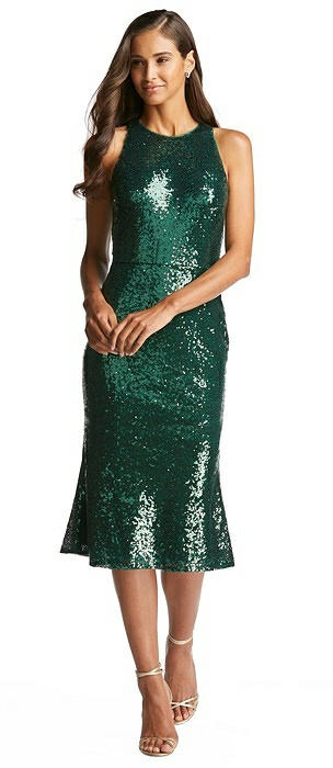 Sequin Midi Halter Dress with Flared Skirt
