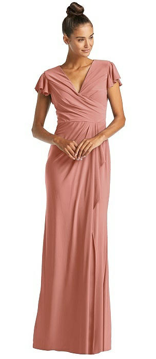 Flutter Sleeve Draped Wrap Trumpet Gown