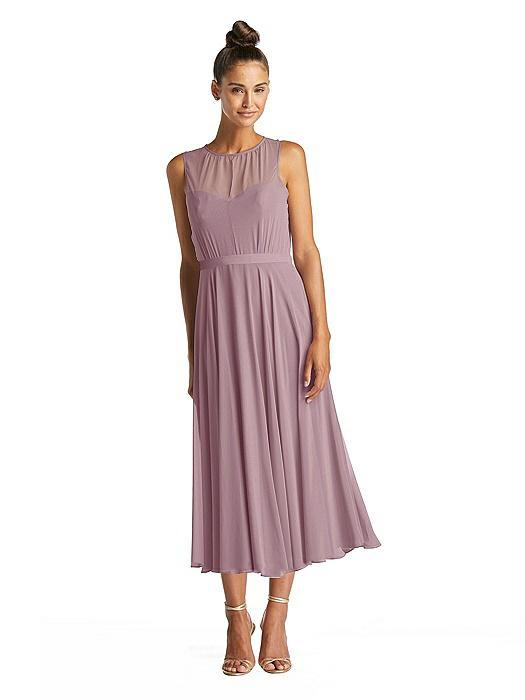 Illusion Neck Open-Back Chiffon Midi Dress