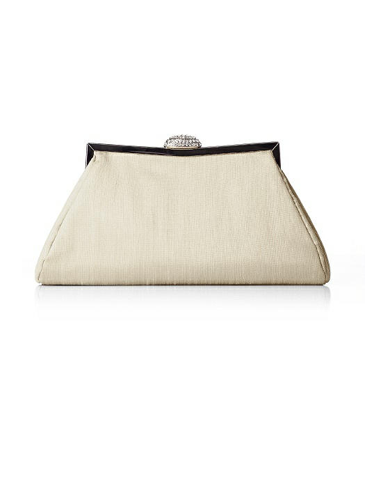 Dupioni Trapezoid Clutch with Jeweled Clasp