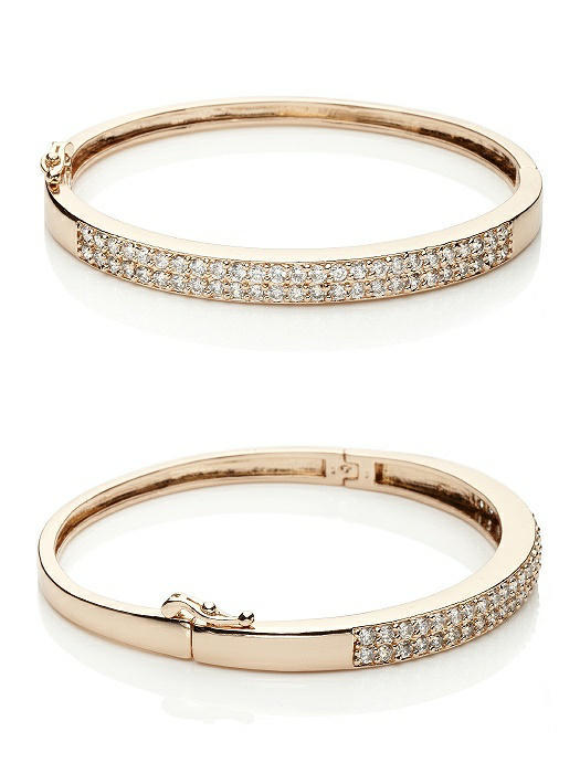 18K Rose Gold Plated Pave Cuff Bracelet