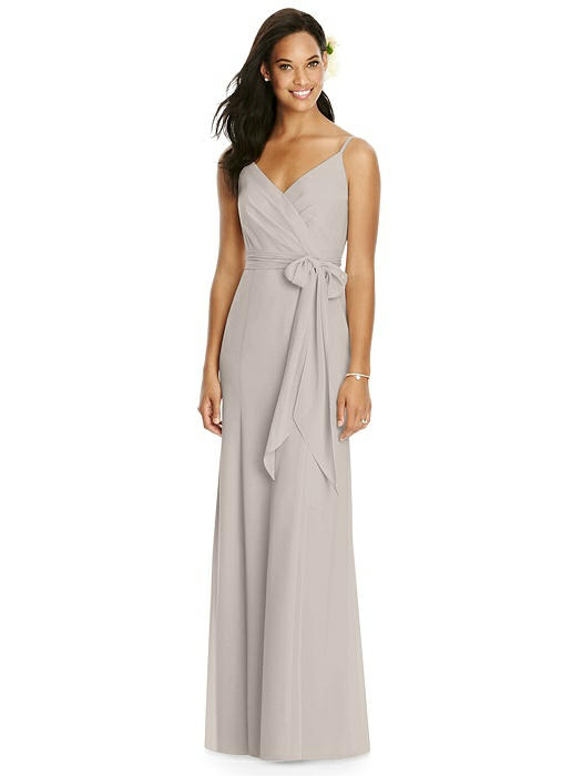 V-Back Draped Wrap Trumpet Gown with Sash On Sale