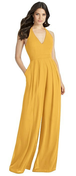 V-Neck Backless Pleated Front Jumpsuit - Arielle