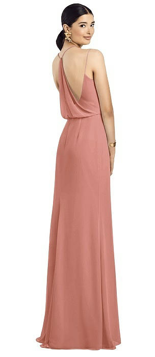 Draped Blouson Back Chiffon Maxi Dress