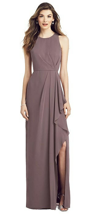 Sleeveless Chiffon Dress with Draped Front Slit