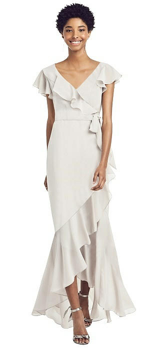 Ruffled High Low Faux Wrap Dress with Flutter Sleeves