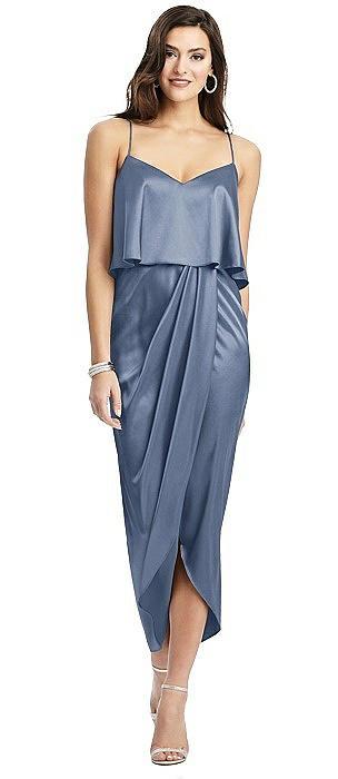 Popover Bodice Midi Dress with Draped Tulip Skirt