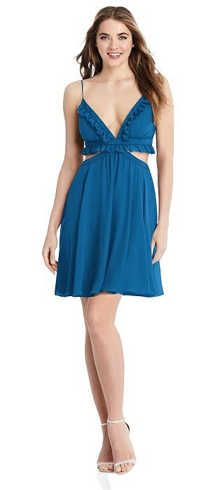 Ruffled Chiffon Cutout Mini Dress - Joey