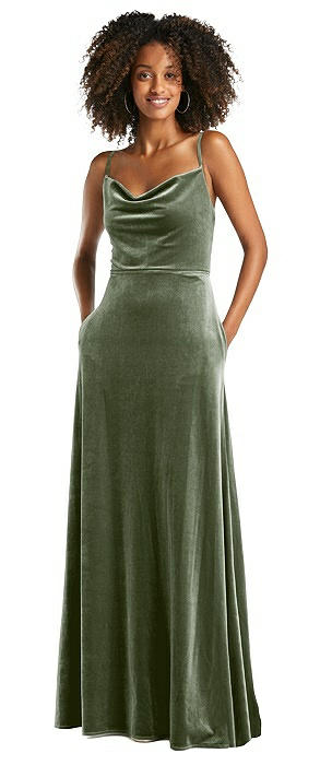 Cowl-Neck Velvet Maxi Dress with Pockets