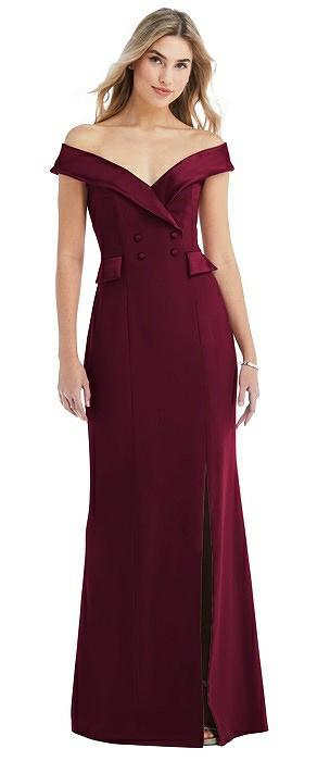 Off-the-Shoulder Tuxedo Maxi Dress with Front Slit