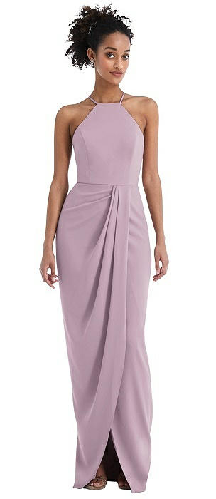 Halter Draped Tulip Skirt Maxi Dress