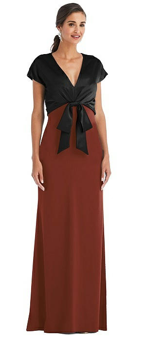 Soft Bow Blouson Bodice Trumpet Gown