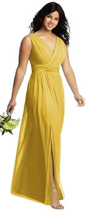 Sleeveless Draped Chiffon Maxi Dress with Front Slit