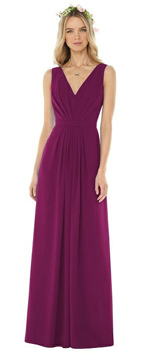 Sleeveless V-Pleat Sheer Crepe Dress On Sale