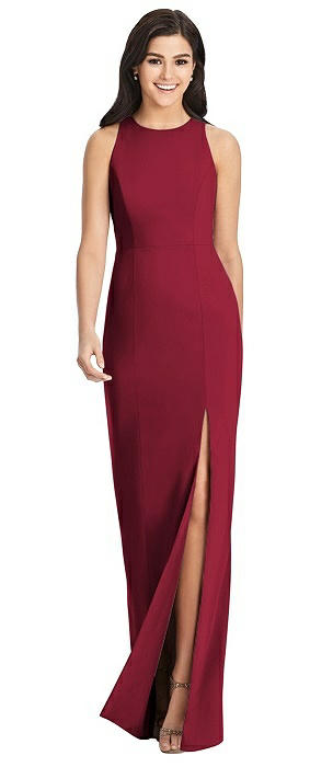 Diamond Cutout Back Trumpet Gown with Front Slit