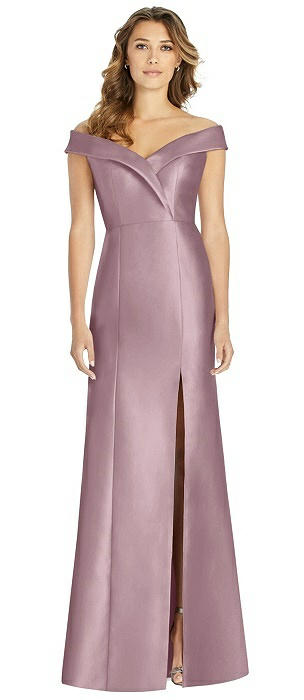 Off-the-Shoulder Cuff Trumpet Gown with Front Slit