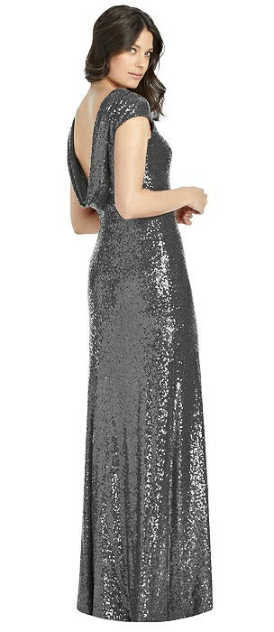 Cap Sleeve Cowl-Back Sequin Gown with Front Slit