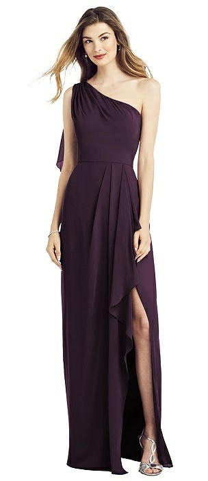 One-Shoulder Chiffon Dress with Draped Front Slit