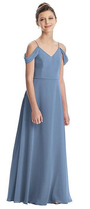 Draped Cold Shoulder Chiffon Juniors Dress