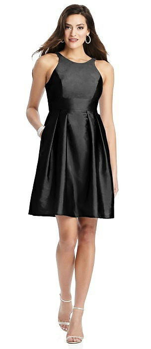Halter Pleated Skirt Cocktail Dress with Pockets