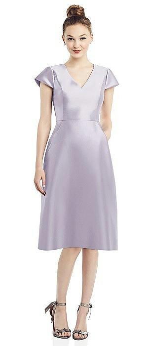 Cap Sleeve V-Neck Satin Midi Dress with Pockets