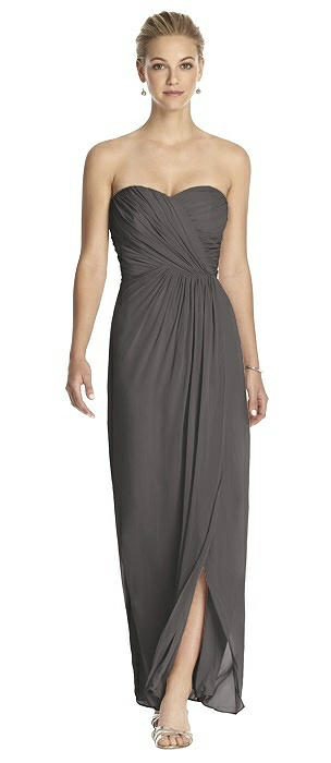 Strapless Draped Chiffon Maxi Dress - Lila