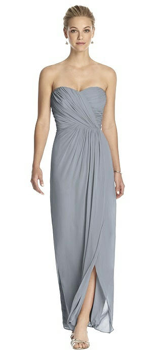 Strapless Draped Chiffon Maxi Dress - Lila