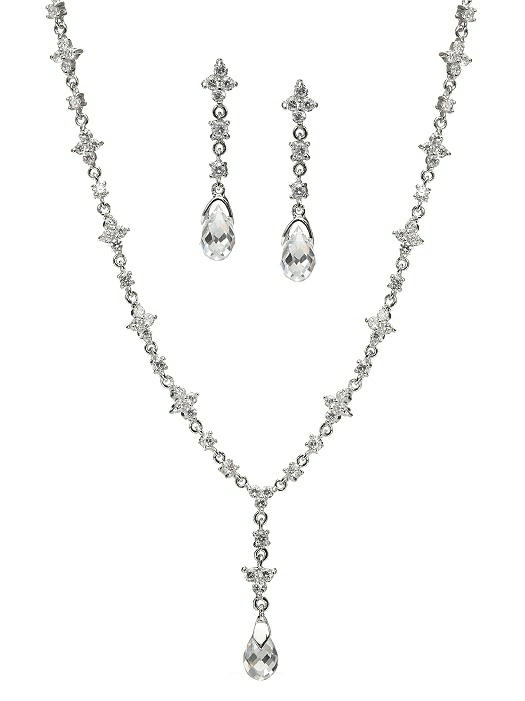 Bridal Necklace and Drop Earring Set