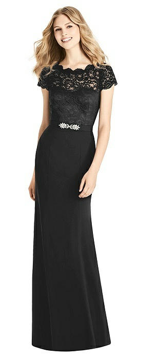 Cap Sleeve Lace and Crepe Trumpet Gown with Jeweled Belt