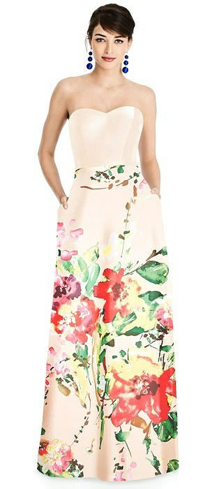 Strapless Floral Skirt A-Line Dress with Pockets