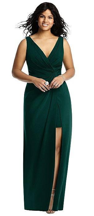 Sleeveless Faux Wrap Maxi Dress with Peekaboo Mini Skirt