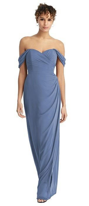 Chiffon Off-the-Shoulder Dress with Shirred Streamer