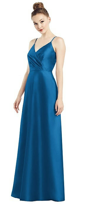 Draped Wrap Satin Maxi Dress with Pockets