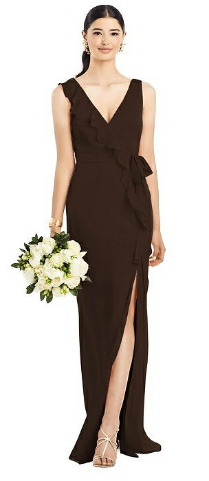 Sleeveless Ruffled Wrap Chiffon Gown