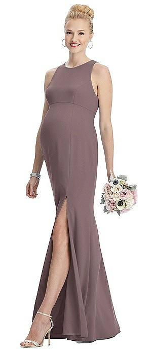 Sleeveless Halter Maternity Dress with Front Slit