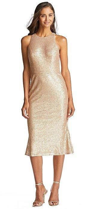Sequin Midi Halter Dress with Flared Skirt