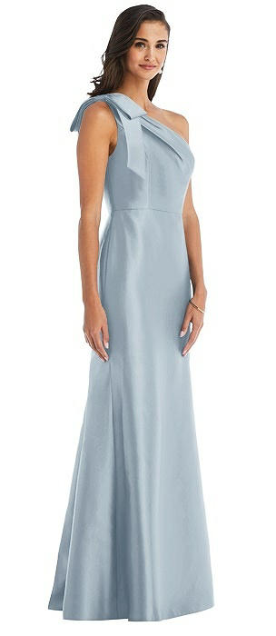 Bow One-Shoulder Satin Trumpet Gown