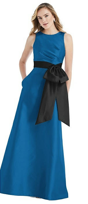 High-Neck Bow-Waist Maxi Dress with Pockets