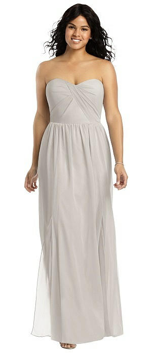 Strapless Draped Bodice Maxi Dress with Front Slits On Sale