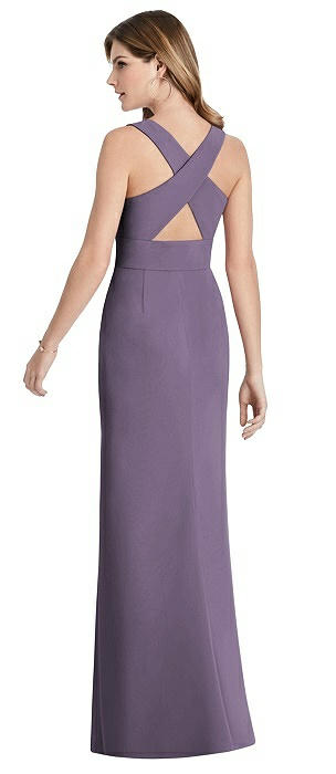 Criss Cross Back Trumpet Gown with Front Slit