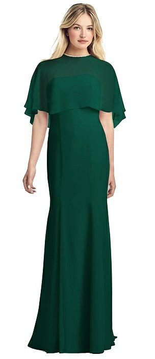 Strapless Chiffon Gown with Jewel-Trimmed Capelet