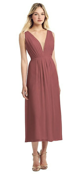Pleated Deep V-Neck Chiffon Midi Dress