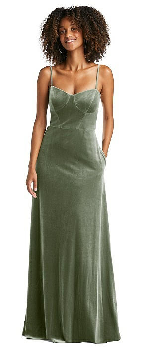 Bustier Velvet Maxi Dress with Pockets