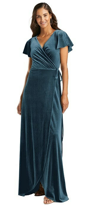Flutter Sleeve Velvet Wrap Maxi Dress with Pockets