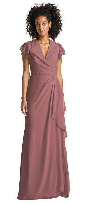 Flutter Sleeve Draped Wrap Maxi Dress