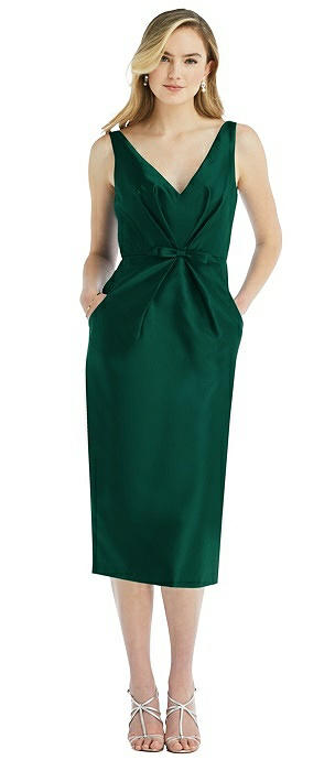 Sleeveless Bow-Waist Pleated Satin Pencil Dress with Pockets
